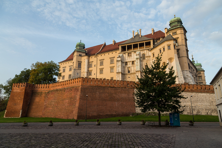 KRAKOW, POLAND -  15TH OCTOBER 2016: The outside of Wawel Castle in Krakow during the morning. Editorial