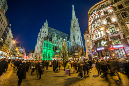 VIENNA, AUSTRIA - 2ND DECEMBER 2016: St stephens cathedral (Stephandsdom) at Christmas. Large amounts of people can be seen.