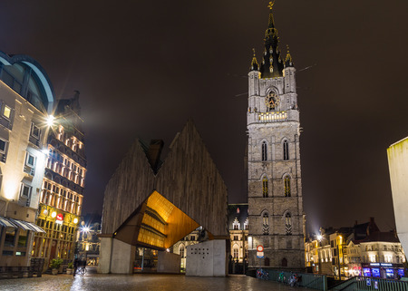 GHENT, BELGIUM - 18TH FEB 2016: The exterior of the Het Belfort van Gent in the Old Town at night. Editorial