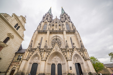 moravia: OLOMOUC, CZECH REPUBLIC - 27TH APRIL 2017:  The outside of Saint Wenceslas Cathedral in Olomouc Czech Republic. Editorial
