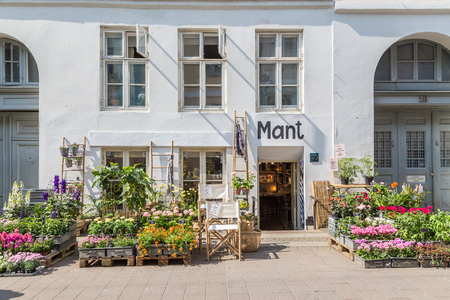 COPENHAGEN, DENMARK - 23RD MAY 2017:  The outside of pretty plant shops in central Copenhagen during the day. Editoriali
