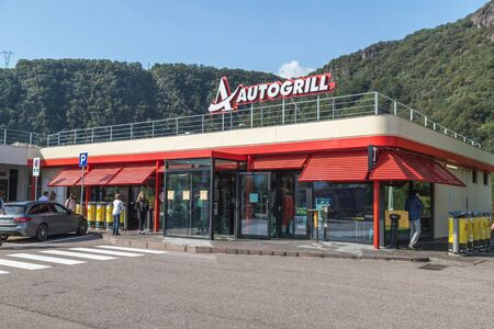 ITALY - 30TH SEPTEMBER 2019: The outside of an Autogrill service station in Italy. People can be seen. Editoriali