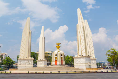 BANGKOK, THAILAND - 17TH MARCH 2017: The Democracy Monument in central Bangkok. The monument was built to honor the Thai constitution.