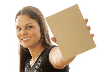 young female holding sign or board Stock Photo - 10331229