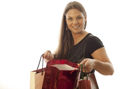 young beautiful woman loves shopping photo