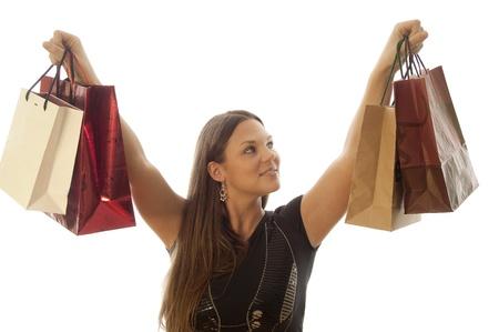 young beautiful woman loves shopping photo