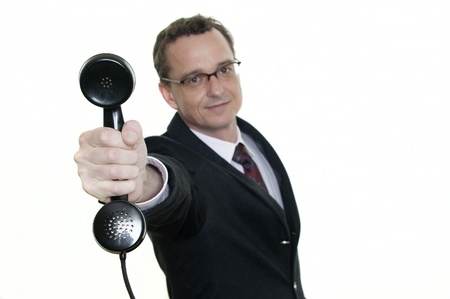 business man with old phone