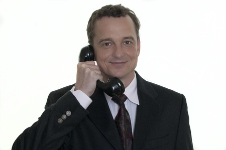 business man with old phone Stock Photo - 10444956