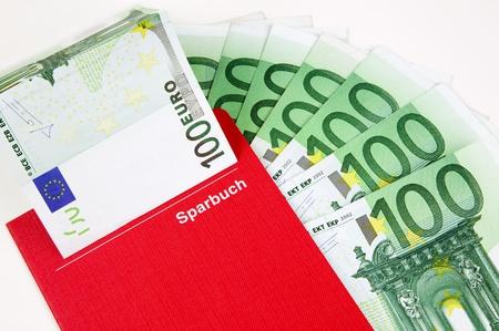passbook: put money into a savings account