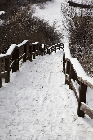 impression: winter impression with snowy stairs