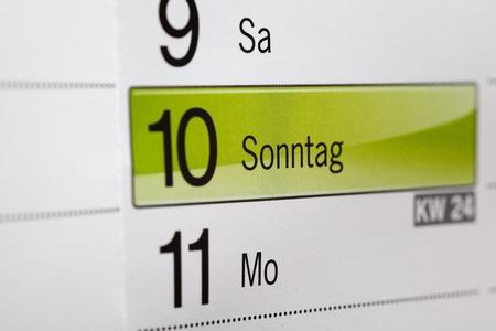 sonntag: calendario