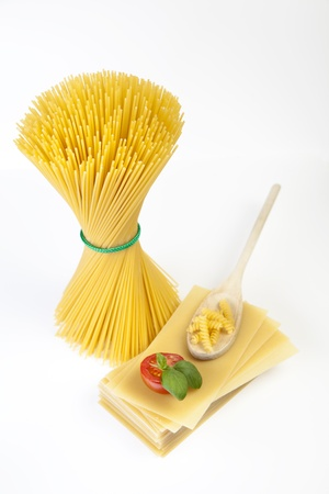 Mediterranean cooking with pasta and ingredients Stock Photo - 14129682