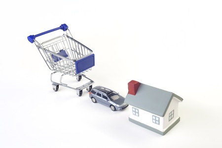 shopping cart, car, house - delivery service