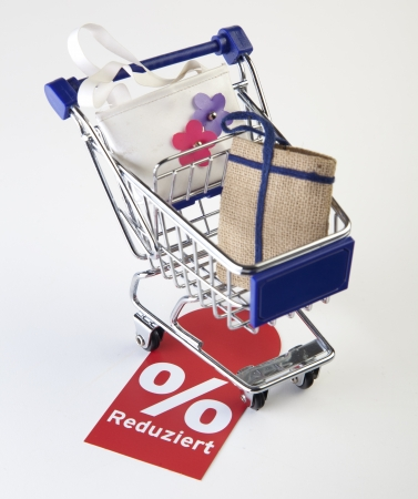 shopping cart with bags photo