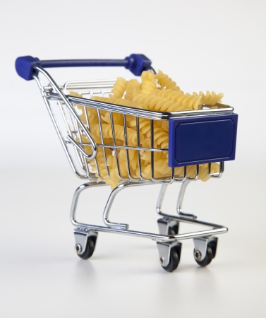 shopping cart with pasta photo