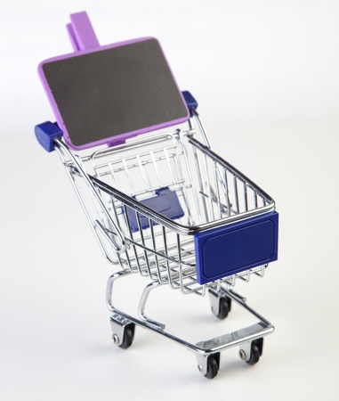 shopping cart with sign photo