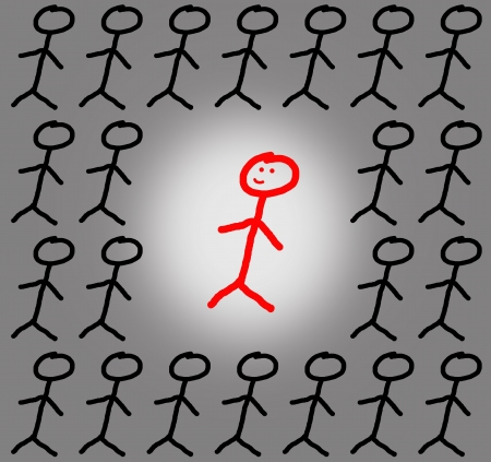 thinkers: Concept stick figure individuality and group