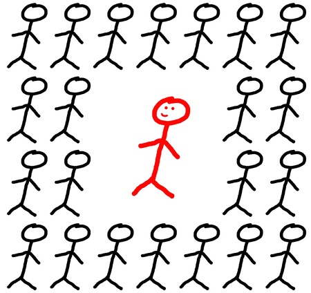 Concept stick figure individuality and group Stock Photo - 18681553