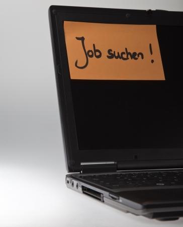 job posting: job search note on keyboard Stock Photo