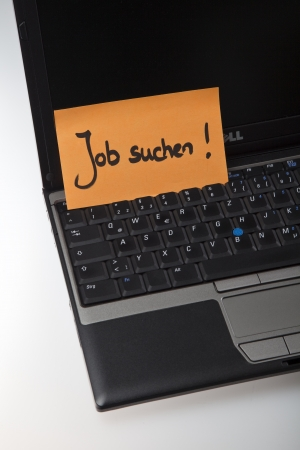job posting: looking for job note on keyboard