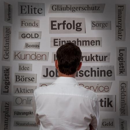 businessman in front of keywords