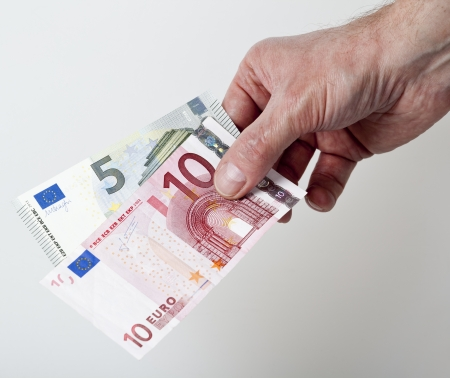 cash back: 15 Euro cash back concept Stock Photo