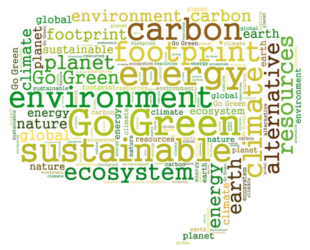 green footprint: Go Green, energy, sustainable, carbon, environment, co2, green, footprint, climate, global, nature, ecosystem, resources, alternative, planet, earth, word cloud,