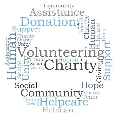 ボランティア チャリティーの単語の雲