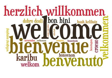 別の言語の単語の雲で歓迎します。