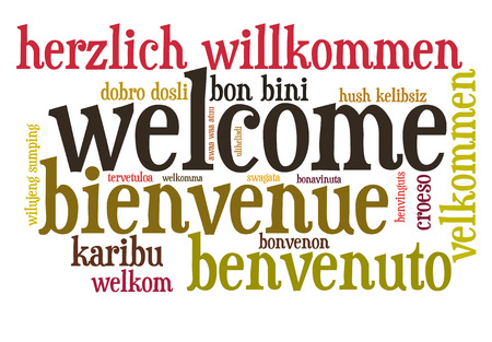 Welcome in different languages word cloud