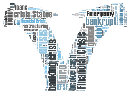 tablet with financial crisis word cloud photo