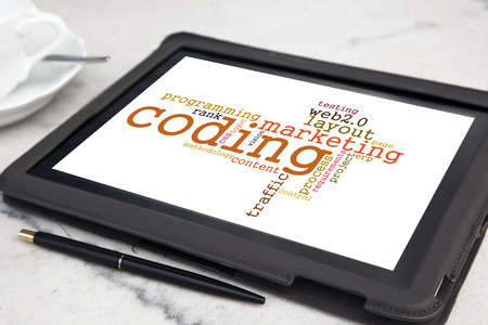 tablet with usability software word cloud photo