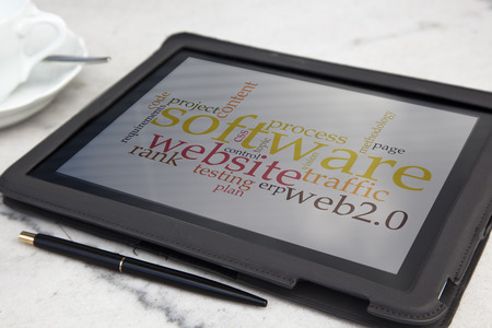tablet with usability software word cloud Stock Photo - 27230756