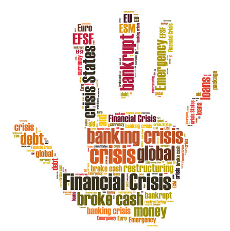 Financial crisis word in palm photo