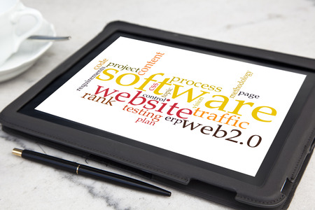 usability: tablet with usability software word cloud