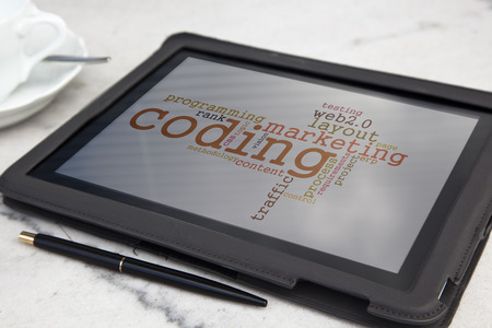 tablet with usability software word cloud Stock Photo - 27829130