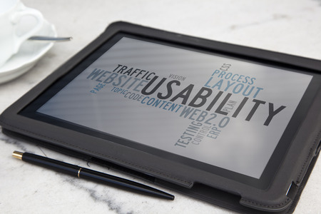 tablet with usability software word cloud Stock Photo - 27974778