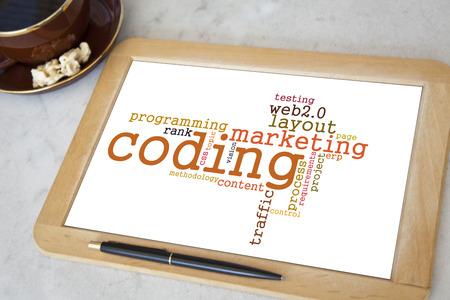 blackboard with coding word cloud photo