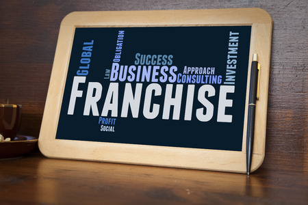 blackboard with franchise word cloud