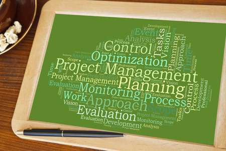 blackboard with management planning word cloud
