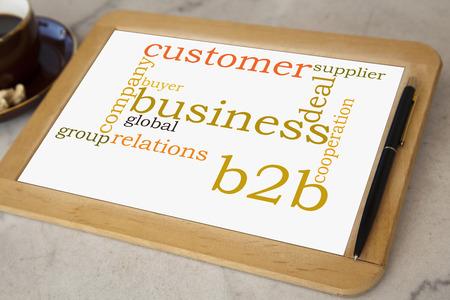 blackboard with b2b business word cloud photo