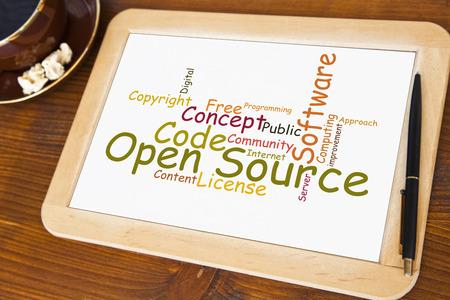 blackboard with open source word cloud photo