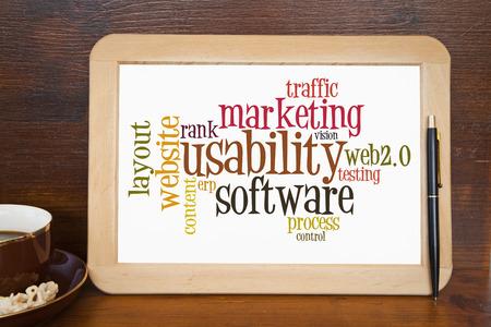 blackboard with usability word cloud Stock Photo - 28033790
