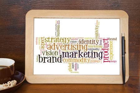 blackboard with brand marketing word cloud photo