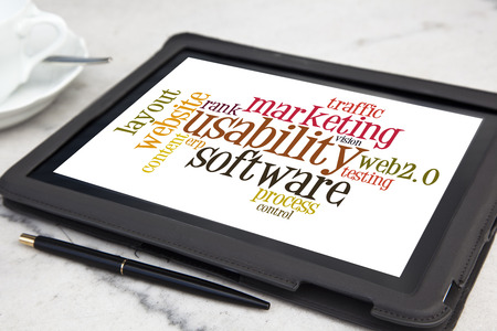 tablet with usability software word cloud Stock Photo - 28337903