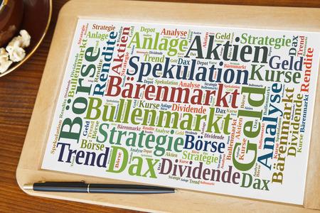 geld: Tafel mit Börse word cloud