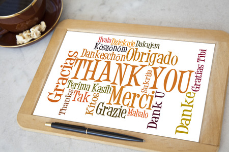 blackboard with thank you word cloud photo