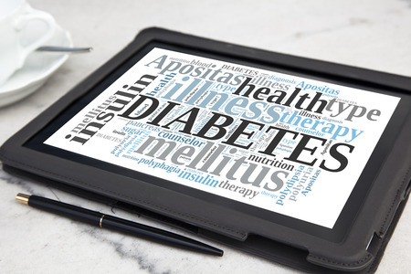 Tablet with diabetes word cloud photo