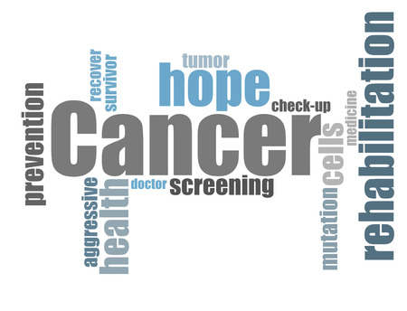 cancer screening: Cancer therapy word cloud Stock Photo
