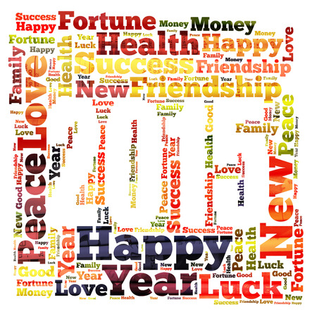 New Year word cloud photo